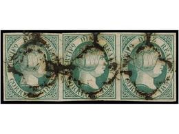 118 ° ESPAÑA. Ed.11 (3). <B>10 Reales</B> Verde. Tira De Tres, ínfimo Corte En El Margen Izquierdo De Un Sello. Cert. GR - Stamps