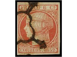 119 ° ESPAÑA. Ed.12. <B>6 Cuartos</B> Rojo, Mat.<B> ARAÑA, </B>ínfimo Puntito Claro Reparado. Excelente Presencia. RARO. - Stamps