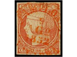 120 ° ESPAÑA. Ed.12. <B>6 Cuartos</B> Rojo, Mat. <B>FECHADOR </B>de PAMPLONA En Rojo. MAGNÍFICO Y RARO. - Stamps