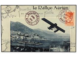 409 ESPAÑA. 1914. Tarjeta Postal De <B>RALLYE AERIEN MONACO A MADRID </B>con Viñeta Del Vuelo Y Fechadores De Salida Y L - Stamps