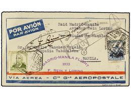 550 ESPAÑA. Ed.670, 672. 1933. MADRID A MANILA. <B>40 Cts.</B> Azul Y <B>60 Cts.</B> Oliva. Vuelo Especial MADRID-MANILA - Stamps