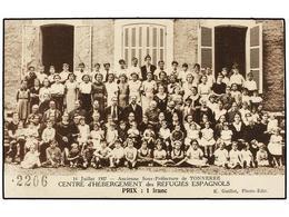 897 ESPAÑA GUERRA CIVIL. 1937. Tarjeta Postal Vendida Por <B>1 Fr. CENTRE D'HÉBERGEMENT DES RÉFUGIÉS ESPAGNOLS.</B> - Unclassified