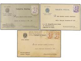 913 ESPAÑA GUERRA CIVIL. 1940. TRES Tarjetas Circuladas A BARCELONA Desde La<B> PRISIÓN DE MIRANDA DE EBRO.</B> - Stamps