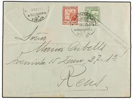 972 ANDORRA. Ed.31, 36. 1940. ANDORRA A REUS. <B>10 Cts.</B> Verde Amarillo Y <B>30 Cts.</B> Rojo. RARA Combinación De F - Stamps