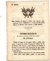 1870  DECRETO MINISTRO DELLA GUERRA E DELLA MARINA - Decreti & Leggi