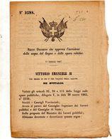 1867  DECRETO  CHE APPROVA L'ISCRIZIONE DELLE ACQUE DEL REGNO - Decreti & Leggi