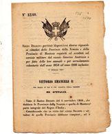 1867  DECRETO  RIGUARDO AI CITTADINI  DI VENEZIA E MANTOVA - Decreti & Leggi