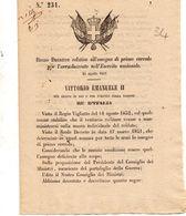 1861   DECRETO  RELATIVO ALL'ASSEGNO DI PRIMO CORREDO PER L'ARRUOLAMENTO NELL'ESERCITO - Decreti & Leggi