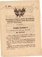 1861   DECRETO  COL QUALE SI MANTIENE LO STIPENDIO DEI VICEGOVERNATORI - Decreti & Leggi