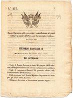 1868   DECRETO  SULLA GERARCHIA  AI GRADI MILITARI E PAGHE DEL PERSONALE FARMACEUTICO  MILITARE - Decreti & Leggi