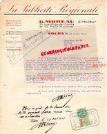 37- TOURS- RARE LETTRE LA PUBLICITE REGIONALE-G. MOREAU DIRECTEUR-21 RUE AUGUSTE COMTE-JOURNAL LE TOURANGEAU-1928 - Imprimerie & Papeterie