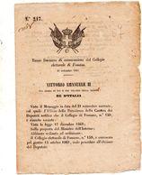 1861   DECRETO DI CONVOCAZIONE DEL COLLEGIO ELETTORALE DI FOSSANO - Decreti & Leggi