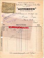 42- SAINT ETIENNE- RARE FACTURE CONSTRUCTIONS MECANIQUES DE LA LOIRE-AUTOMOTO-38 RUE GUTENBERG- NANTES- 1921 AUTO MOTO - Transport