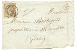 N°21 NAPOLEON BISTRE / SAMATAN GERS / CACHET OR ROUGE - Marcophilie (Lettres)