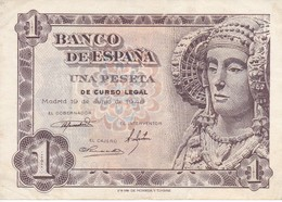BILLETE DE 1 PTA DEL AÑO 1948 SERIE D CALIDAD MBC (VF)  DAMA DE ELCHE  (BANKNOTE) - [ 3] 1936-1975 : Régence De Franco