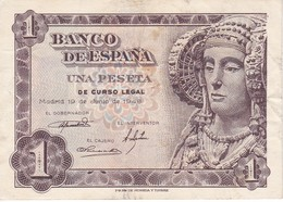 BILLETE DE 1 PTA DEL AÑO 1948 SERIE L CALIDAD MBC (VF)  DAMA DE ELCHE  (BANKNOTE) - [ 3] 1936-1975 : Régence De Franco
