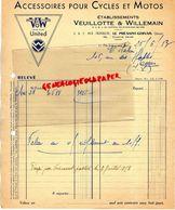 93- LE PRE SAINT GERVAIS-FACTURE VEUILLOTTE & WILLEMAIN- ACCESSOIRES POUR CYLES MOTOS- VELO MOTO- 5 RUE FRANKLIN-1953 - Transport