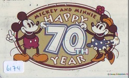 Télécarte Japon / 110-194740 - DISNEY ENTERPRISES - MICKEY & MINNIE (6174) Happy 70th Year Anniversary - Japan Phone - Disney