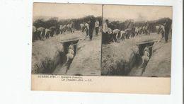 GUERRE 1914 INFANTERIE FRANCAISE LES TRANCHEES - ABRI (CARTE STEREOSCOPIQUE) - Weltkrieg 1914-18
