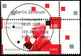 A12-11-4) BRD - Mi 2174 ECKE REO - Zentrisch OO Gestempelt - 110Pf/56C   Erich Ollenhauer - Oblitérés