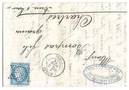 LETTRE Avec N°60/1 15 G1;  2ème état TTB - 1871-1875 Cérès