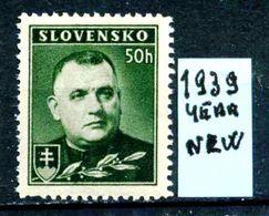 SLOVACCHIA - Year 1939 - Nuovo - News - Fraiche - Frisch -MNH **. - Slovacchia