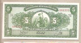 Perù - Banconota Non Circolata FdS Da 5 Soles De Oro P-83a.4 - 1966 - Perù