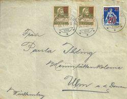 Brief  Frauenfeld - Ulm  (Ueberdrucks-Frankatur)            1922 - Briefe U. Dokumente