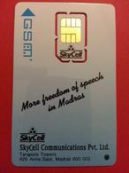SIM GSM RARE INDIA TARAPORE TOWER MADRAS DEMO SKYCELL TOP MINT - India
