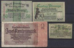 ALLEMAGNE - LOT De 4 BILLETS - [ 3] 1918-1933 : République De Weimar