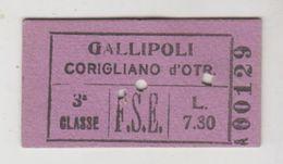 Biglietto Ticket Ferrovie Dello Stato  Edmonson Gallipoli/corigliano D'otranto Regno 3° Classe 1940 - Railway