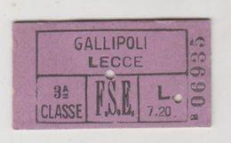 Biglietto Ticket Ferrovie Dello Stato  Edmonson Gallipoli/lecce Regno 3° Classe 1940 - Railway