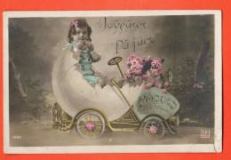 GBK-36 Joyeuses Pâques, Attelage Voiture Avec Oeuf Et Fillette, Roses. Fente Angle Inf. Droit, Circulé - Pâques