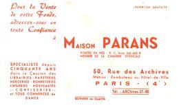 """V F P/Buvard Vente De Fonds """"Parans"""" (Format 21 X 14) (N= 1) - Buvards, Protège-cahiers Illustrés"""