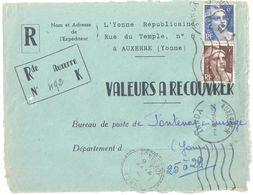 4433 AUXERRE Yonne Républicaine Valeur Recouvrer Gandon 6 F Bleu 720 3 F Brun 715 Fontenoy Recommandé De Fortune Ob Meca - France