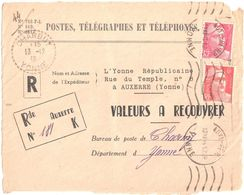 4435 AUXERRE Yonne Républicaine Valeur Recouvrer Gandon 6 F Rouge 3 F Rose Yv 716 721 Charbuy Recommandé De Fortune - France