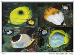 Micronesia 1997 WWF W.W.F. MC Butterfly Fish Set X4 Fauna Fishes Maximum Cards - Cartes-maximum
