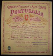 Companhia Produtora De Malte E Cerveja Portugalia - Five Share Certified 1946 - Beer Factory Brasserie - Titulo De Acção - Industrie