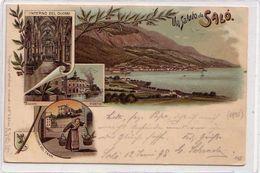 SALò-BRESCIA-LAGO DI GARDA-GRUSS MULTIVEDUTE-LITHO VIAGGIATA IL14-6-1898 - Brescia