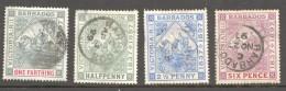 BARBADOS  1897  VICTORIA  JUBILEE  4 Values SG 116-7, 191, 121 Used - Barbados (...-1966)