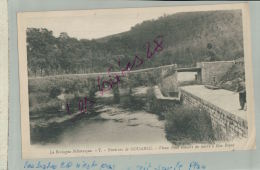 CPA  22  Environ De GOUAREC  Vieux Pont Ouvert Lierre à Bon-Repos Personnage à La Pêche   Fev 2018 957 - Autres Communes