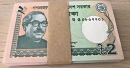 C) BANGLADESH BANK NOTE 2 TAKAS UNC (ND 2016) 1 BUNDLE - Bangladesh