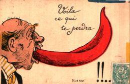 Attribué Yruam - Voila Ce Qui Te Perdra, Homme Grande Langue - Künstlerkarten