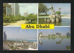 UAE Abu Dhabi 4 Scene Picture Postcard U A E View  Fold Crease AS PER SCAN - Dubai