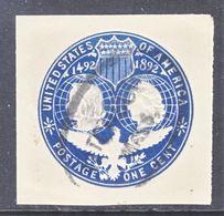 US CUT  SQUARE U  348   (o)   1893  ISSUE - Postal Stationery