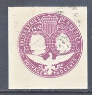 US CUT  SQUARE U  349   (o)   1893  ISSUE - Postal Stationery