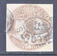 US CUT  SQUARE U  350   (o)   1893  ISSUE - Postal Stationery