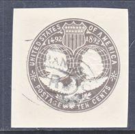 US CUT  SQUARE U  351   (o)   1893  ISSUE - Postal Stationery