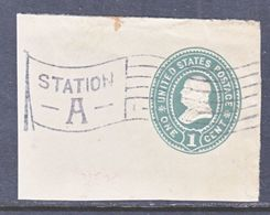 US CUT  SQUARE U  352   (o)   1899  ISSUE - Postal Stationery