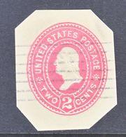 US CUT  SQUARE U  368   AMBER   (o)   1899  ISSUE - Postal Stationery